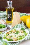 Fresh spring salad with lettuce, eggs, cheese, croutons, green Stock Photos