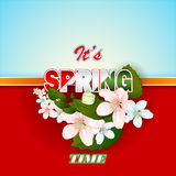 Fresh spring  scene background with colorful Spring text Stock Photography