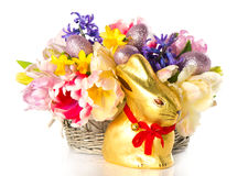 Fresh spring tulips with chocolate easter bunny Stock Photos