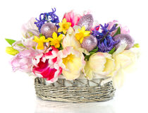 Fresh spring tulips with easter eggs decoration Stock Photography