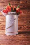 Fresh spring tulips in a flowers box Royalty Free Stock Images