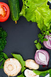 Fresh Spring Vegetables, Greens and Empty  Plate with Place for Stock Photography