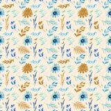 Spring flowers seamless blue botanical pattern. Fresh spring watercolor floral seamless pattern for wedding cards, seamless pattern background of websites and Stock Image