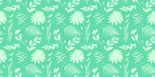 Spring flowers seamless blue botanical pattern. Fresh spring watercolor floral seamless pattern for wedding cards, seamless pattern background of websites and Royalty Free Stock Photo
