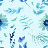 Spring flowers seamless blue botanical pattern. Fresh spring watercolor floral seamless pattern for wedding cards, seamless pattern background of websites and Stock Photos