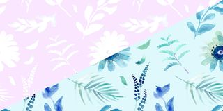 Spring flowers seamless blue botanical pattern. Fresh spring watercolor floral seamless pattern for wedding cards, seamless pattern background of websites and Stock Images