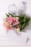 Fresh  spring white and pink  tulips,  candles in decorative bird cages Royalty Free Stock Photos