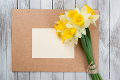 Fresh  spring yellow  daffodils  flowers and empty tag on brown painted wooden planks. Selective focus. Place for text. Stock Images