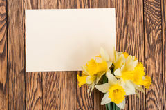 Fresh  spring yellow  daffodils  flowers and empty tag on brown painted wooden planks. Selective focus. Place for text. Fresh  spring yellow  daffodils  flowers Royalty Free Stock Photos