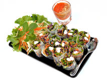 Fresh springroll. Fresh shrimp springroll with mix vegetable and spicy sauce Royalty Free Stock Photos