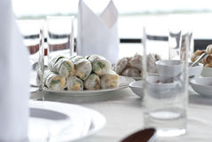 Fresh springroll. Vietnamese famous appetizer dish stuffed with vegetable, prawn and glass noodles Stock Photo