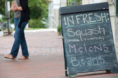 Fresh Squash, Melons & Beans Sidewalk Sign Royalty Free Stock Images