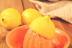 Fresh squeezed lemon Royalty Free Stock Photography