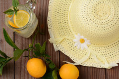 Fresh Squeezed Lemonade and Yellow Sun Hat Royalty Free Stock Images