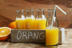 Fresh squeezed orange juice in a bottle Stock Photo
