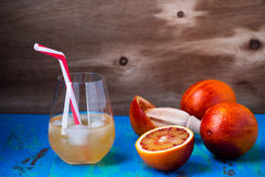 Fresh squeezed orange juice coctail and blood oranges Stock Images