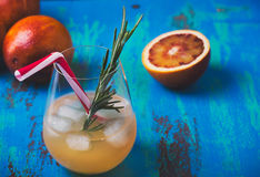 Fresh squeezed orange juice coctail and blood oranges, tequila p Royalty Free Stock Photography