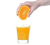 Fresh squeezed orange juice on white background Stock Photography