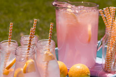 Fresh Squeezed Pink Lemonade on the Patio Stock Image