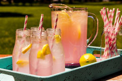 Fresh Squeezed Pink Lemonade on the Patio Royalty Free Stock Image