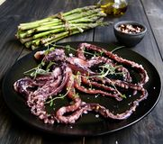 Fresh squid with an asparagus Stock Photography