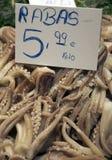 Fresh squid at the Boqueria market Royalty Free Stock Photos