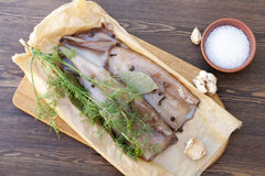 Fresh squid carcass with spices. On paper royalty free stock image
