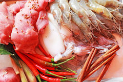 Fresh squid and fresh shrimp and pork with garnish for soup. Stock Photos