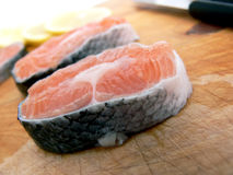 Fresh stakes of salmon Stock Images