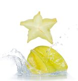 Fresh star fruit with splash Stock Photos