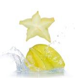 Fresh star fruit with splash Stock Photos