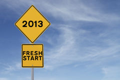 Fresh Start. Road sign indicating a fresh start in 2013 Stock Image