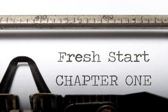 Fresh start. Chapter one printed on an old typewriter Royalty Free Stock Image