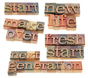 Fresh start, new life, makeover. Start or beginning concept - fresh start, new life, makeover, next generation  -  a collage of isolated words spelled in vintage Royalty Free Stock Image