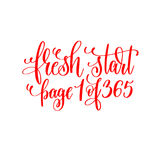 Fresh start page 1 of 365 - red hand lettering inscription Royalty Free Stock Images