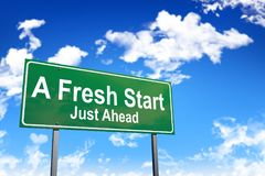 A fresh start road sign. On sky background Stock Image