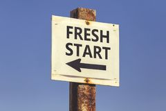 Fresh start word and arrow signpost 2 Stock Images