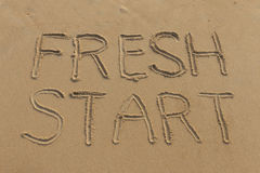 Fresh Start Written in the Sand Stock Photo
