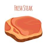 Fresh steak, beef, pork. Slice of raw meat. Flat style. Fresh steak, beef, pork. Slice of raw meat. Cartoon flat style vector illustration