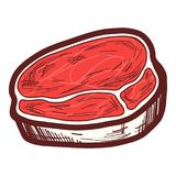 Fresh steak icon, hand drawn style royalty free illustration