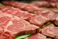 Fresh Steaks. At the butcher Royalty Free Stock Image