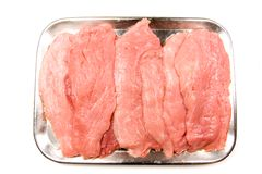 Fresh Steaks in a Pan Stock Image