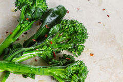 Fresh steamed broccolini Royalty Free Stock Images