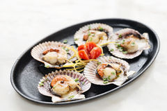 Fresh steamed gourmet scallop with asian sweet sour seafood sauc Royalty Free Stock Images