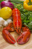 Fresh Steamed Lobster with Lemon and Fresh Vegetables Royalty Free Stock Photos