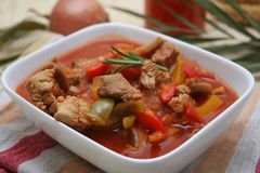 Fresh stew. With meat and paprika in a bowl Stock Photo