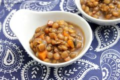Stew of lentils with bacon Stock Photography