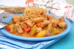 Fresh stew with meat and mushrooms Stock Photos