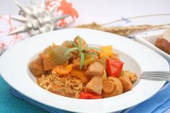 Fresh stew with meat and mushrooms Royalty Free Stock Photos