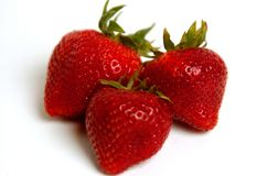 Fresh Strawberries. Three fresh, ripe strawberries on a white backdrop Royalty Free Stock Images